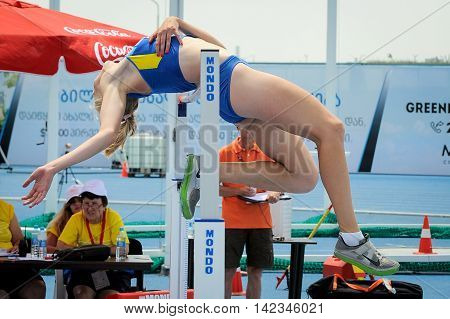 POLTAVETS Oleksandra from Ukraine during high jump girls competition at the European Athletics Youth Championships in the Athletics Stadium Tbilisi Georgia 14 July 2016