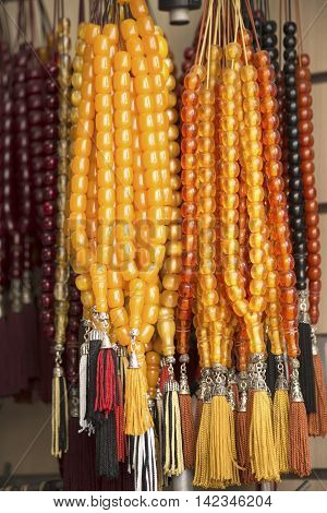 Stack of the amber rosaries close up