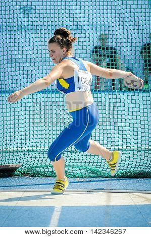 HARKUSHA Darya from Ukraine during discus throw competition at the European Athletics Youth Championships in the Athletics Stadium Tbilisi Georgia 14 July 2016