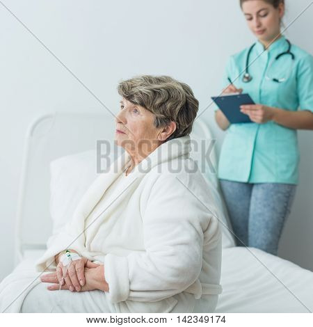 Sad Ill Woman At Hospital