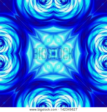 Abstract kaleidoscopic blue pattern with wavy structure and blurred lines. Blue abstract kaleidoscopic pattern with rippling psychedelic structure