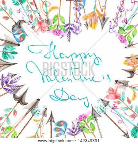 Wreath (frame border) of romantic arrows painted in watercolor on a white background, decoration postcard, greeting card or invitation with inscription Happy Valentine's Day