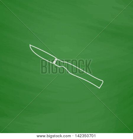 scalpel Outline vector icon. Imitation draw with white chalk on green chalkboard. Flat Pictogram and School board background. Illustration symbol
