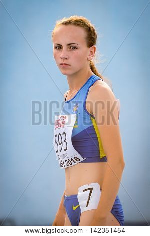 VDOVYCHENKO Darya from Ukraine during 400 m run competition at the European Athletics Youth Championships in the Athletics Stadium Tbilisi Georgia 15 July 2016