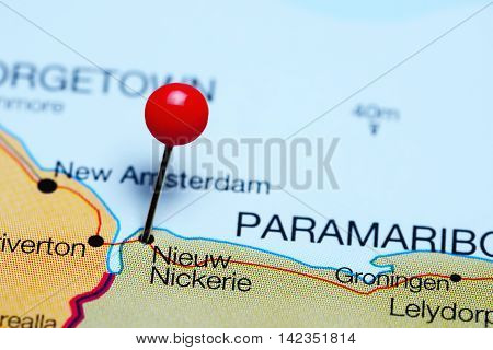 Nieuw Nickerie pinned on a map of Suriname