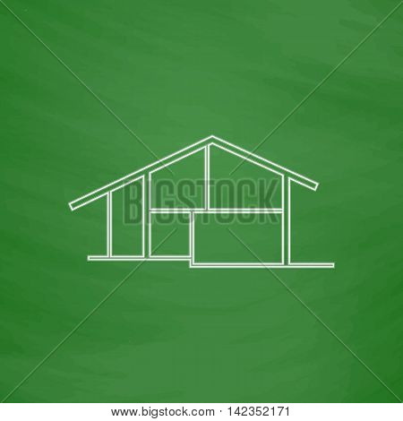 cottage Outline vector icon. Imitation draw with white chalk on green chalkboard. Flat Pictogram and School board background. Illustration symbol