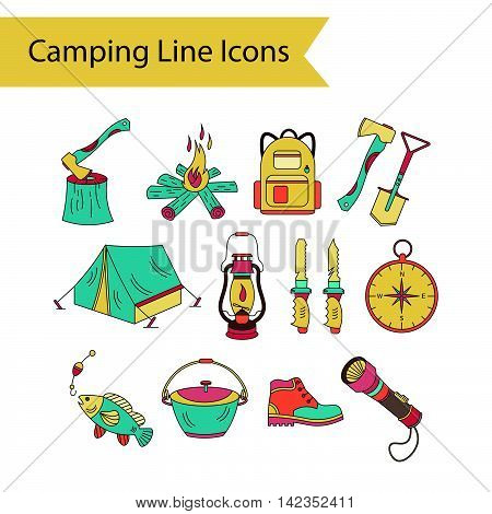 Camping holiday vector line icons. Color vector icon. Wood, fire, kerosene lamp, lantern, tent, knife backpack fishing compass shoes