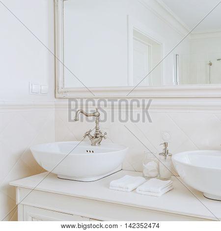 Designed Washbasins In Retro Bathroom