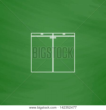 Drawer Outline vector icon. Imitation draw with white chalk on green chalkboard. Flat Pictogram and School board background. Illustration symbol