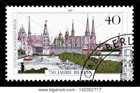 BERLIN - CIRCA 1987 : Cancelled postage stamp printed by Berlin, that shows Berlin.
