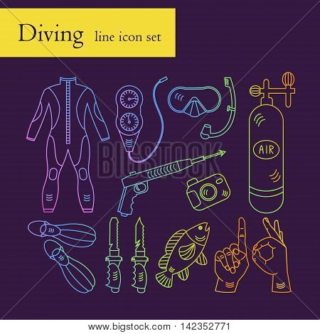 Vector line color rainbow icons with diving equipment. Linear icons of scuba, oxygen balloon, diver knife, harpoon, spear gun, gauge, camera.