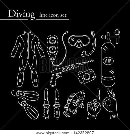 Vector line icons with diving equipment. Linear icons of scuba, oxygen balloon, diver knife, harpoon, spear gun, gauge, camera.