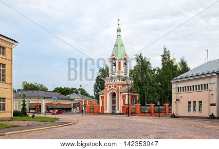 HAMINA, FINLAND - JUNE 26, 2016: The Orthodox Church of St Peter and Paul (1837). Bell Tower in Neobyzantine style was built in 1862.