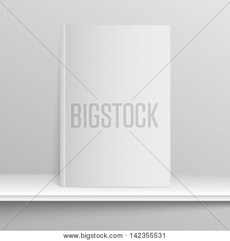 Blank empty magazine or book template lying on a gray background. Eps 10.
