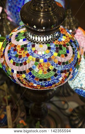 Colorful stained glass Oriental lamp close up