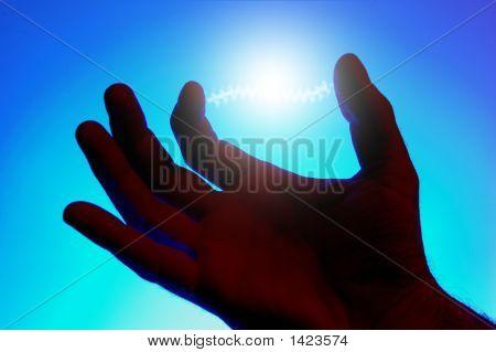Energy Glowing Between Fingers