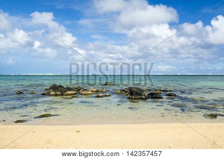 Beautiful tropical rocky beach, Bel Ombre, Mauritius island