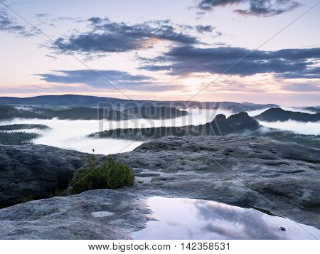 Landscape In Water Mirror. Misty Awakening In Beautiful Mountains Park