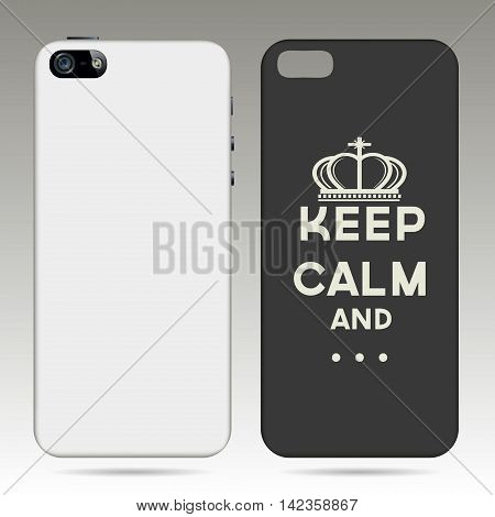 Blank phone case on a gray background. Vector illustration