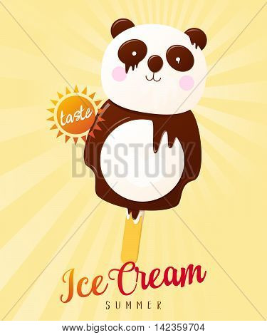 Panda Bear Ice Cream Summer Illustration. Vector poster isolated on colorful background.