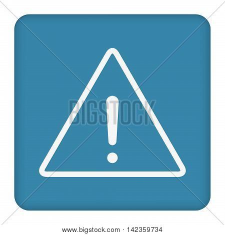 White exclamation mark  vector sign. Blue background