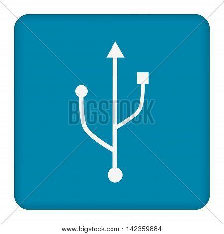 White USB flash drive icon.  Blue background