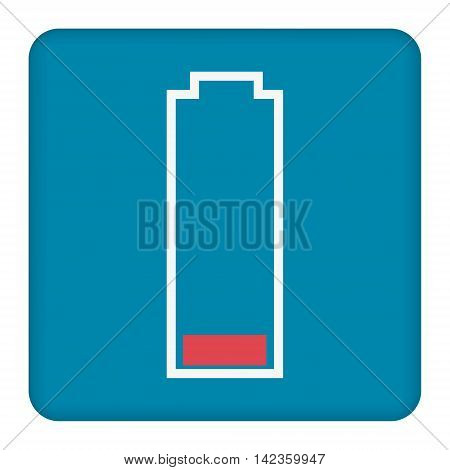 Low battery icon on blue  button background, clean vector