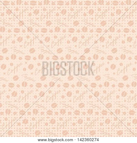 Beige seamless background with scattering of coffee beans and lettering. Seamless coffee pattern in pale beige colors. Design for cards wallpaper posters clothes. Vector illustration