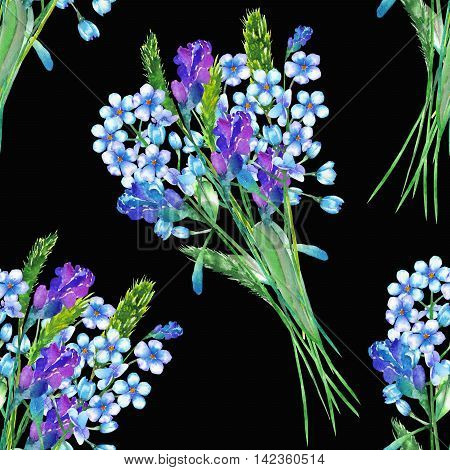 Seamless floral pattern with the bouquets of blue forget-me-not flowers (Myosotis), painted in a watercolor on a dark background