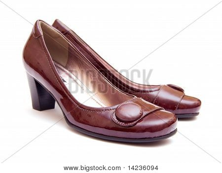 The Pair Of Brown Woman's Shoes