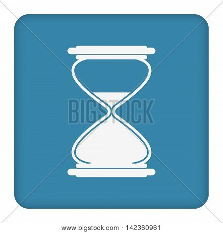 White hourglass icon on blue background. Vector illustration