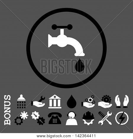 Water Tap vector bicolor icon. Image style is a flat pictogram symbol inside a circle, black and white colors, gray background. Bonus images are included.