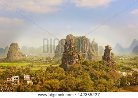 Aerial View At Karst Mountains Near Guilin In China.