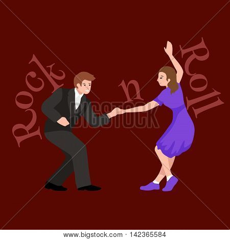 Young couple dancing lindy hop or swing in a formation, man and woman Rock and Roll dancing, vector illustration, isolated, people girl and boy have fun party