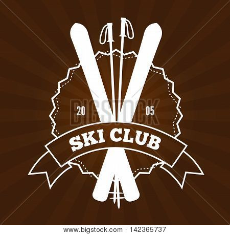 Vintage skiing resort or mountain patrol label, emblem or logo with ski and ski poles