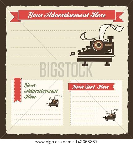 Vector Retro Advertisement Template with old-fashioned typewriter