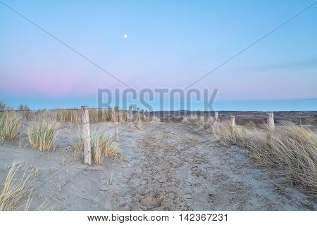 full moon over sand path with fence in dunes Holland