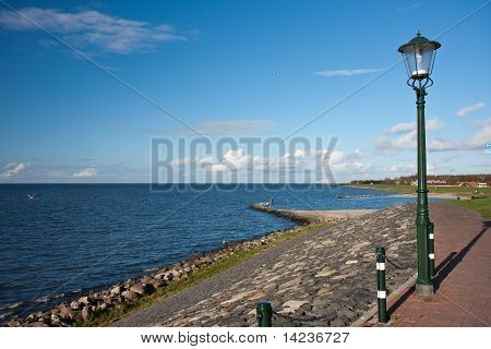 Seascape From Urk In The Netherlands At The Windturbines Along The Coast