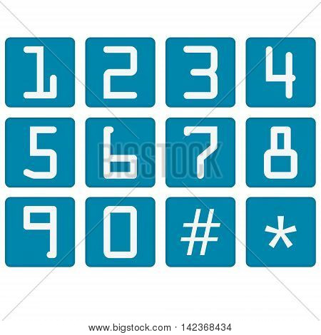 Numbers Counting Square Vector Blue Icon Design Set.