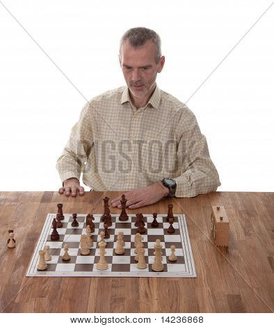 Chess Player Isolated On White