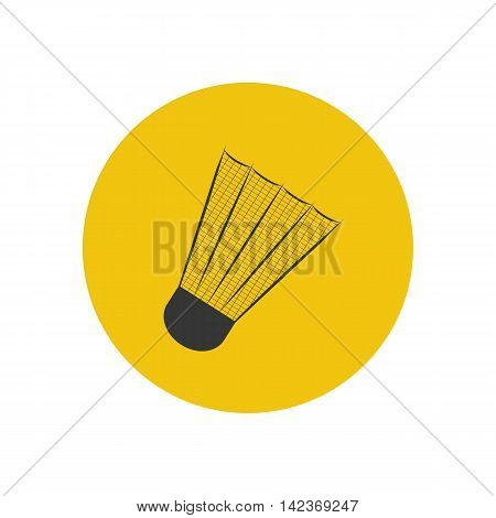 Shuttlecock silhouette illustration on the yellow background. Vector illustration
