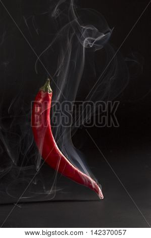 Red hot chilli pepper on the black background with clipping path