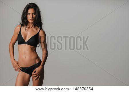 Pretty Young Woman Wearing Sexy Black Underwear