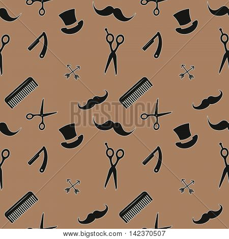 Seamless pattern barbershop. vector illustration on a brown background.