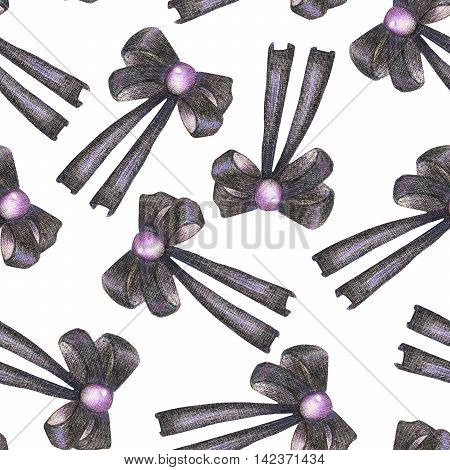 A seamless pattern with a dark bows decorated by jewel (gemstone), painted in colored pencils on a white background