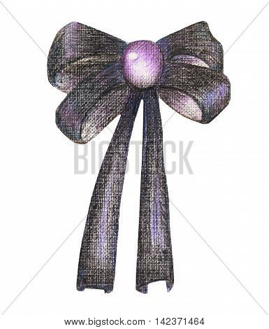 Illustration with a dark purple bow painted in colored pencils on a white background