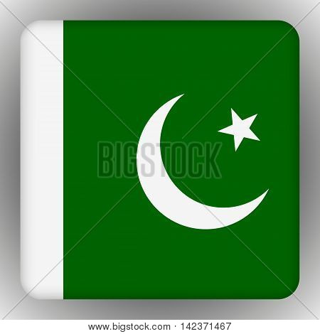 Square glossy icon with national flag of Pakistan on white background.