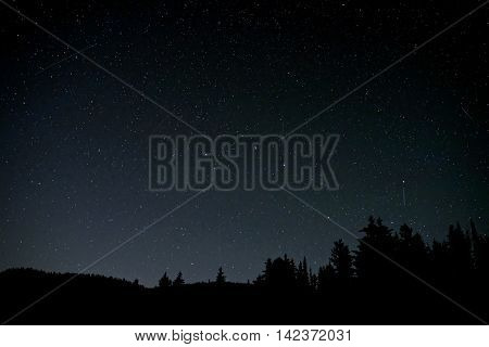 Perseid Memeor Showers over Manning Park near Hope, British Columbia, Canada