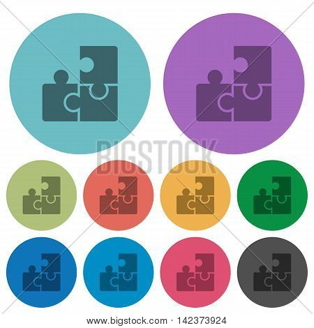 Color puzzle flat icon set on round background.