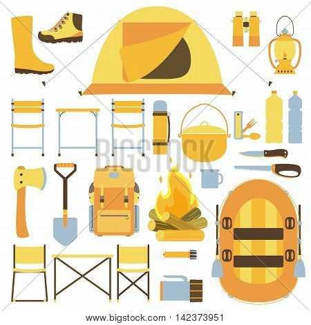 Camping equipment icons. Backpack, tent, knife, lantern, campfire, shoes, boat, shovel, binoculars, ax, boots, flashlight. Vector illustration. Isolated on a white background.
